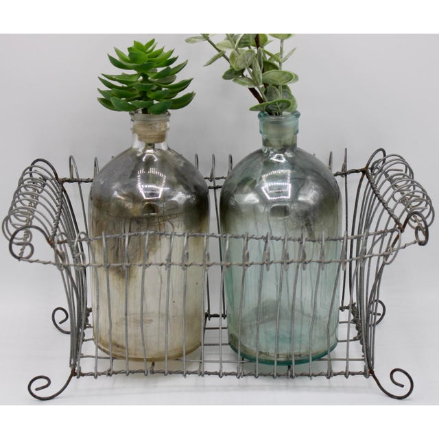 Antique French Jardiniere Footed Wire Basket For Sale - Image 6 of 7