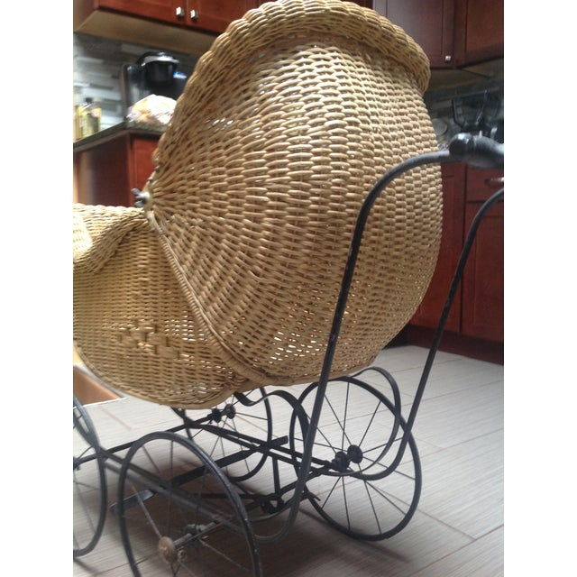 Boho Chic Early 1900's Victorian Baby Wicker Buggy For Sale - Image 3 of 10