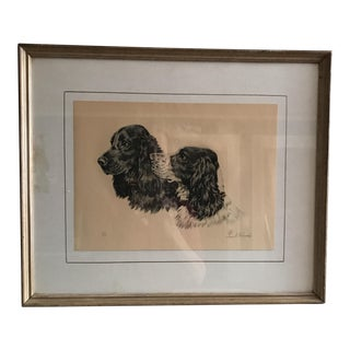 Vintage Print of Two Spaniels Signed by the Artist