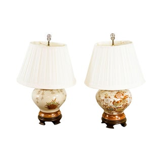 Ethan Allen Asian Style Ginger Jar Pottery Pair Table Lamps For Sale