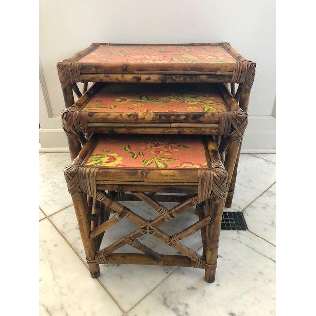 Orange 1960s Boho Chic Bamboo Nesting Tables - 3 Piece Set For Sale - Image 8 of 8