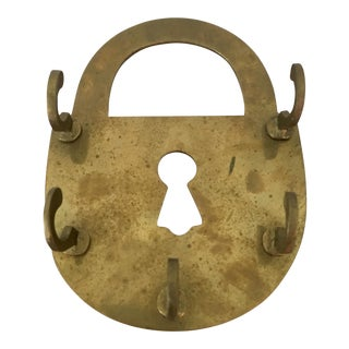 Mid-Century Brass Lock Key Hook For Sale