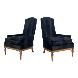 Traditional High Back Armchairs Restored in Brazilian Cowhide - Pair For Sale