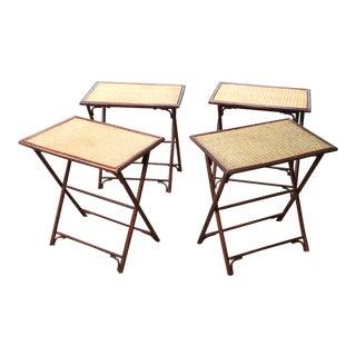 Palecek Bamboo & Wicker Folding Tables- Set of 4