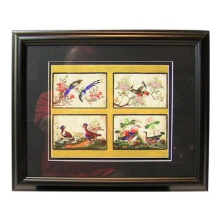 19c Chinese Hand Painted Silk Collage of Exotic Birds For Sale