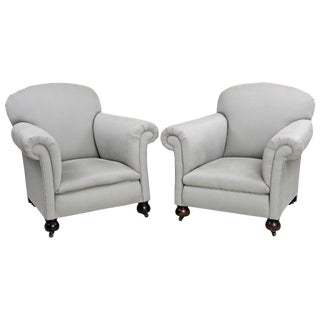 Pair of English Club Chairs For Sale