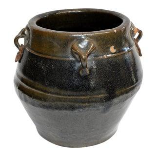 Antique 4 Ears Silver Gray Vinegar Jar For Sale