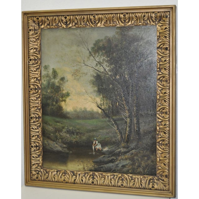 19th Century Forested Landscape Oil Painting - Image 3 of 8