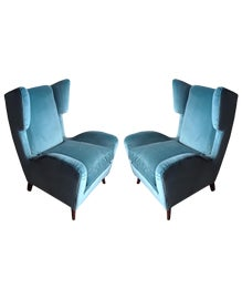 Image of Velvet Wingback Chairs