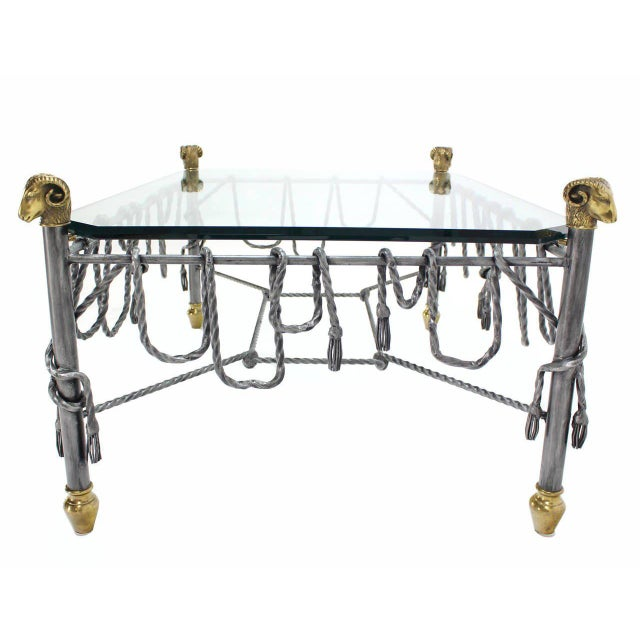 Ornate Wrought Iron Brass and Glass Coffee Table For Sale In New York - Image 6 of 8