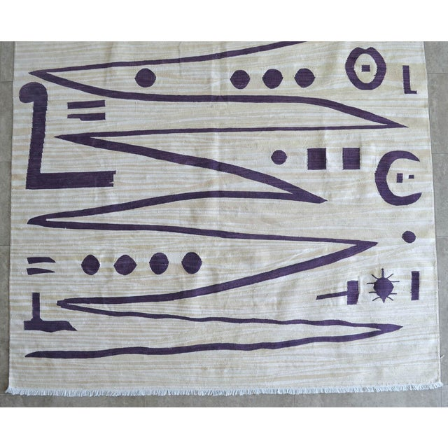 Acrylic Paul Klee - Heroic Strokes of the Bow - Inspired Silk Hand Woven Area - Wall Rug 4′9″ × 6′3″ For Sale - Image 7 of 10