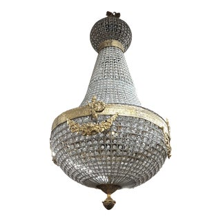1970s Empire Brass and Glass Chandelier For Sale