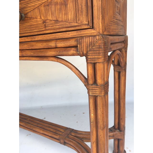 Ethan Allen Burnt Bamboo Rattan 3 Drawer Console Table For Sale - Image 6 of 7