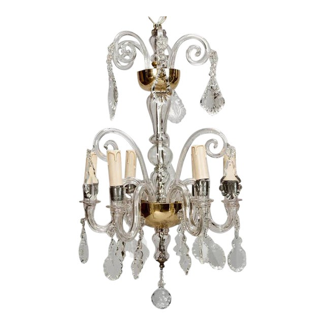 French Tiered All Crystal Six Light Chandelier c.1920 - Image 1 of 9