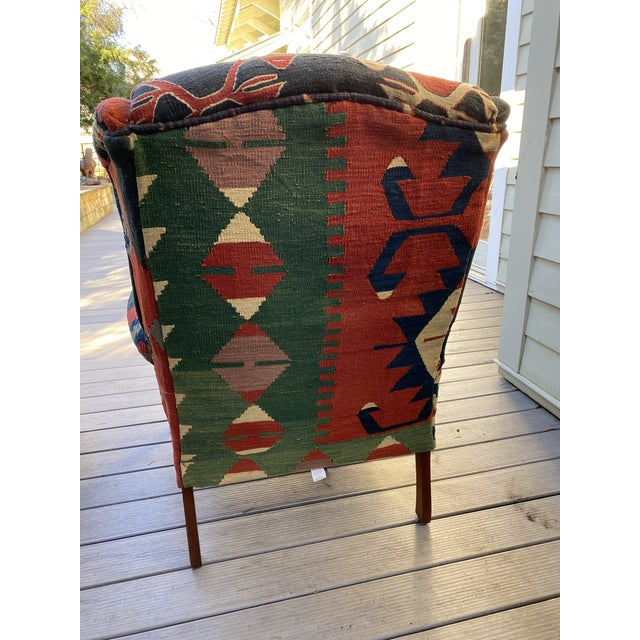 Textile Kilim Wingback Chairs - a Pair For Sale - Image 7 of 13