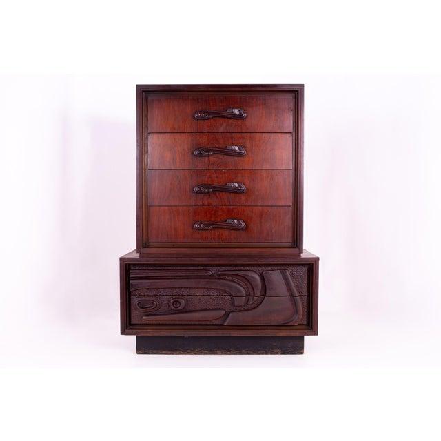 Witco Style Oceanic Mid Century Brutalist 6 Drawer Gentlemans Chest 44.25 wide x 19 deep x 61.5 high Restored vintage...