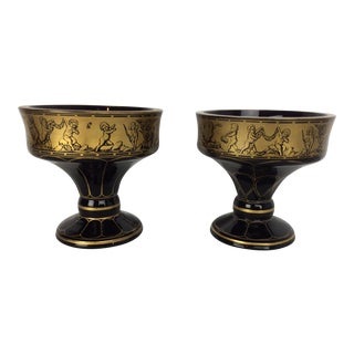 Vintage Moser Gold Neoclassical Painted Glass Urns - a Pair