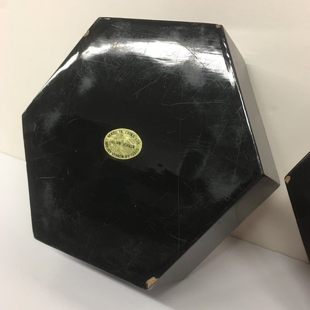 Vintage Black Lacquer Hexagon Box For Sale - Image 11 of 11