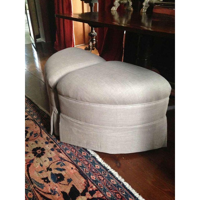 1960s Upholstered Crescent Shape Ottomans on Casters - A Pair For Sale - Image 5 of 7