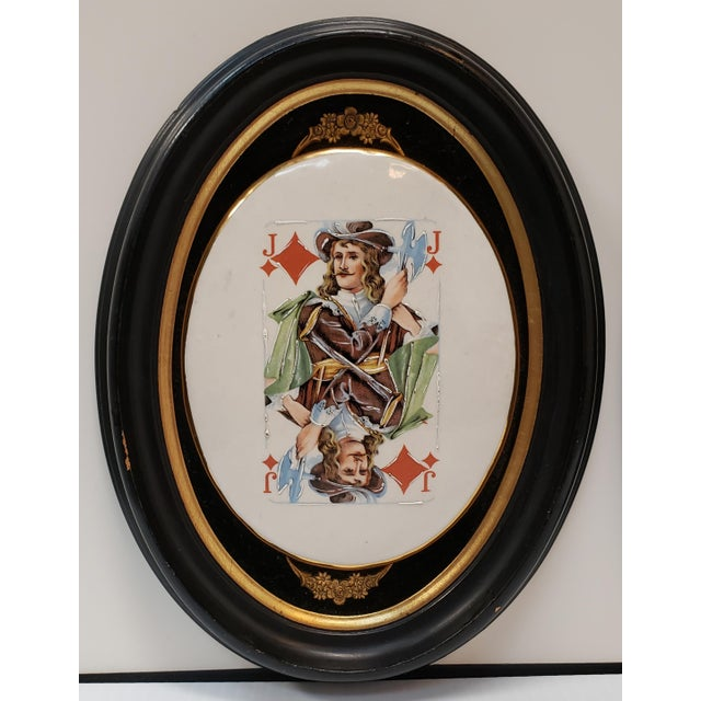 Up for sale is a Pair of Late 19th Century English Playing Card Painted Transferware Framed Porcelain Plaques! They each...