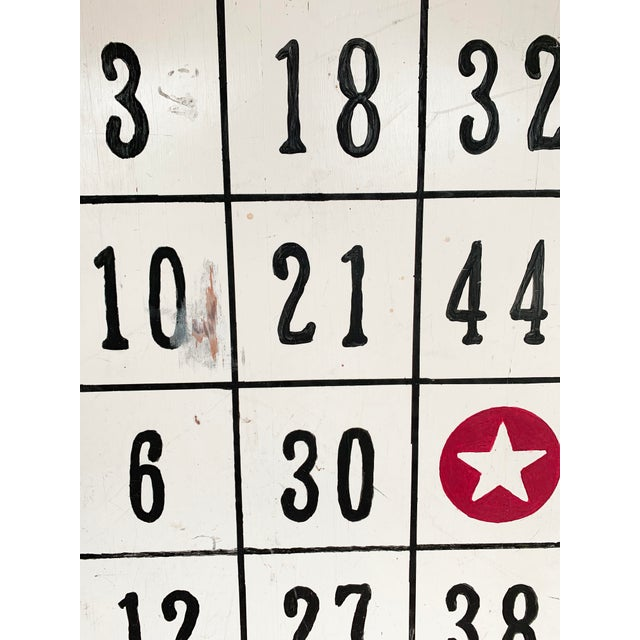 "Vintage 48"" / 4 Ft Wood Distressed Hand Painted Bingo Card Sign For Sale - Image 4 of 6"