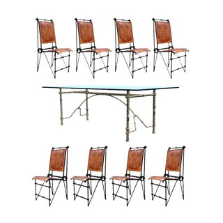 1970s Brutalist Iron & Glass Brutalist Dining Set - 9 Pieces For Sale