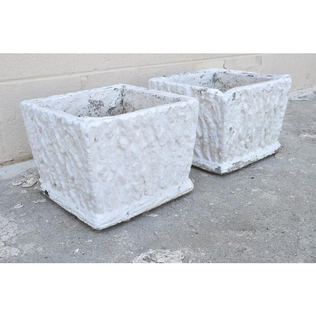 9 X 11 Pair of Vintage White Concrete Cement Square Garden Planter Flower Pots For Sale In Philadelphia - Image 6 of 7
