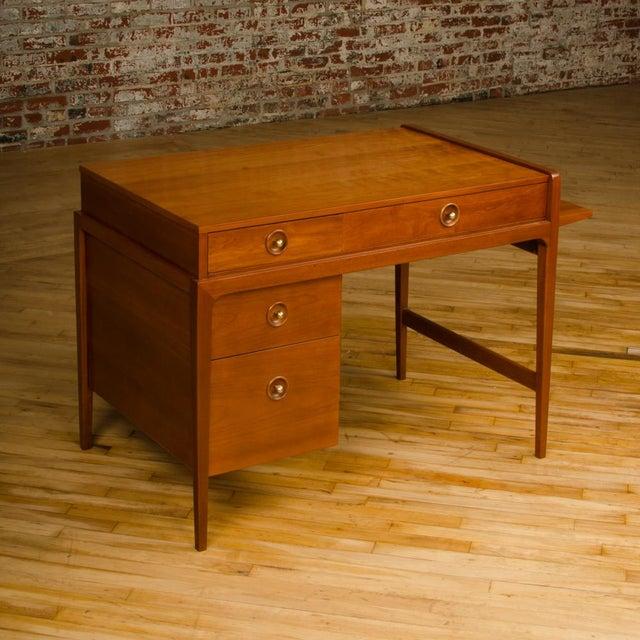 Mid-Century Walnut Desk With Side Extension Designed by John Van Koert for Drexel For Sale - Image 9 of 13
