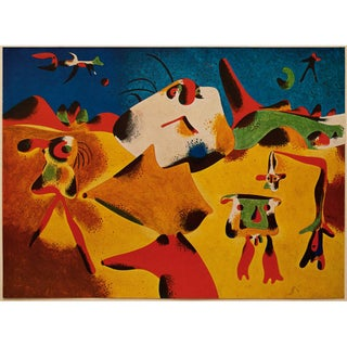 "1947 Juan Miró, Original Period Parisian Lithograph ""Characters, Mountain, Sky, Star and Birds"" Preview"