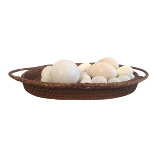 Vintage Wicker Tray With Assorted Eggs For Sale