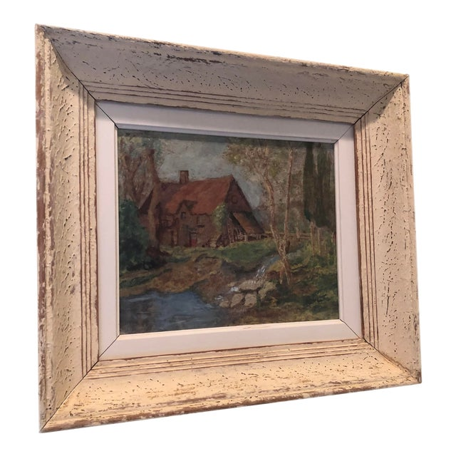 Vintage French Oil Painting Landscape Thatched Roof Cottage For Sale