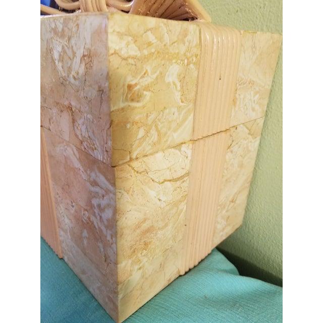 1970s Vintage Coral Stone Veneer Ribboned Box For Sale - Image 5 of 7