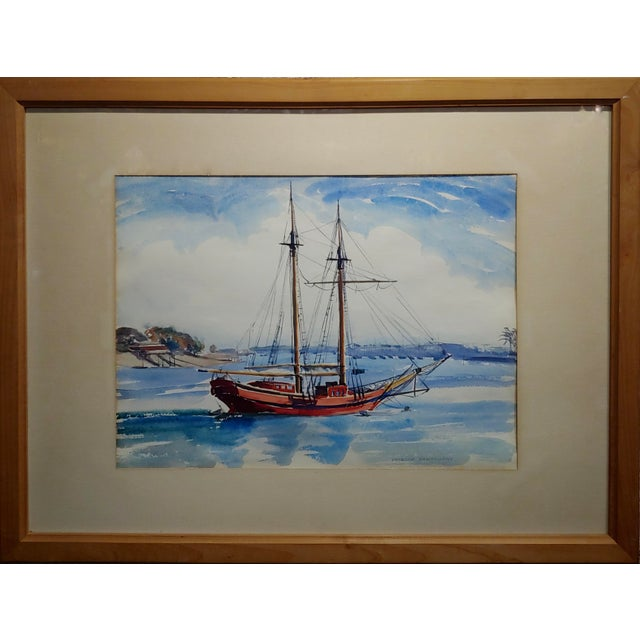 Virgene Hawthorne - Red Sail Boat resting at Bay - 1950s Painting Watercolor on paper under glass-Signed frame size 42 x...