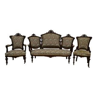 Antique 1800's Victorian Renaissance Walnut Parlor Furniture - Set of 3