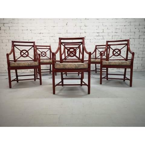 Chippendale Set of 6 Italian Mid Century Red Bamboo Chippendale Lounge Dining Chairs For Sale - Image 3 of 13