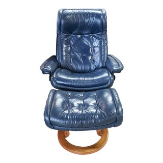 1970s Vintage Norwegian Stressless Blue Leather Chair and Ottoman For Sale