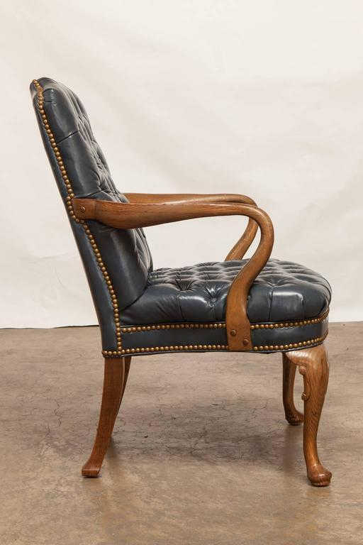 Schafer Brothers Chippendale Style Tufted Leather Library Chair   Image 3  Of 10