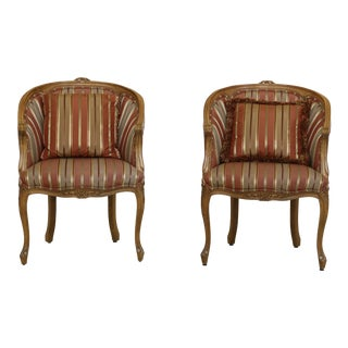 Pair Stickley French Style Upholstered Club Chairs For Sale