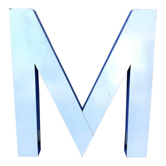 """Large Vintage Blue & White Enamel """"M"""" Building Signage For Sale"""