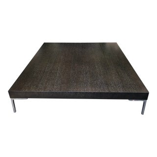 Modern Designer Ebony & Steel Square Low Coffee Table For Sale