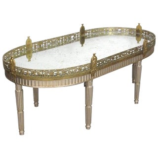 Silver Leaf French Louis XVI Style Gilt Bronze Mirrored Plateau or Coffee Table For Sale