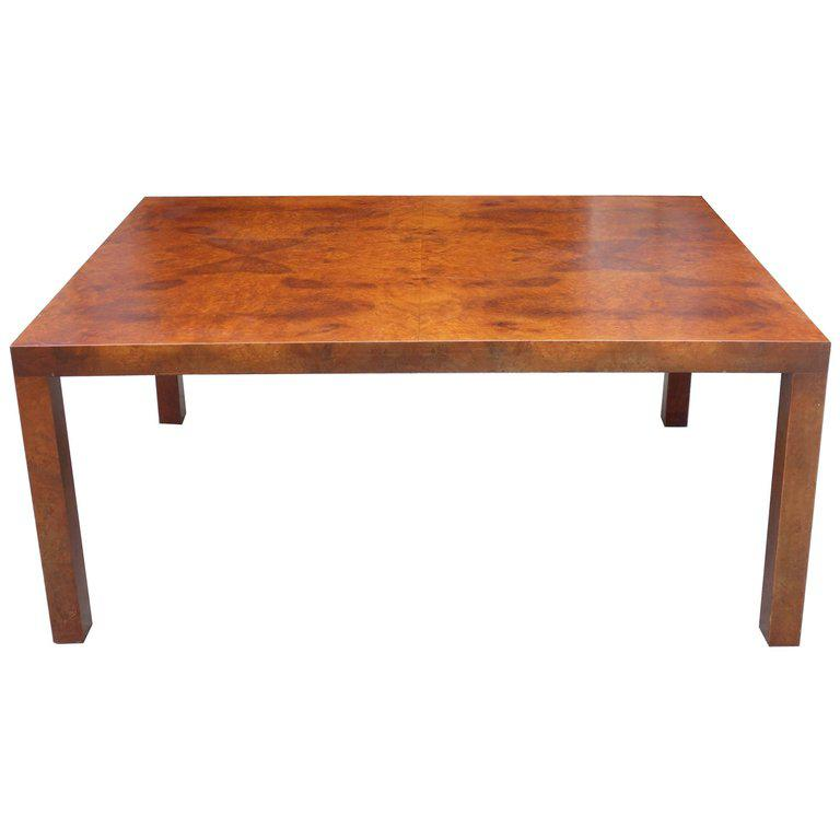 Incredible Midcentury Milo Baughman Burl Wood Coffee Table DECASO