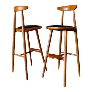 1960s Vilhem Wohlert Pair of Teak Barstools- A Pair For Sale