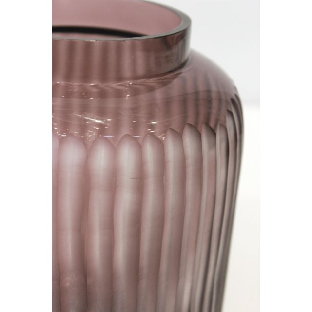 Contemporary Hand Blown & Handcut Lilac Glass Vase For Sale - Image 3 of 5