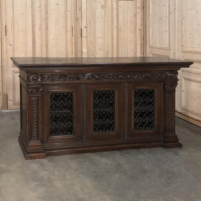 Renaissance Antique Italian Walnut Renaissance Buffet/Credenza, Bookcase With Wrought Iron For Sale - Image 3 of 8