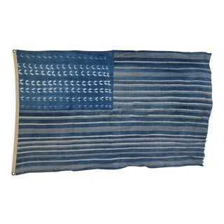 "Boho Chic Indigo Blue & White Flag From African Textiles 59"" X 37"" For Sale"