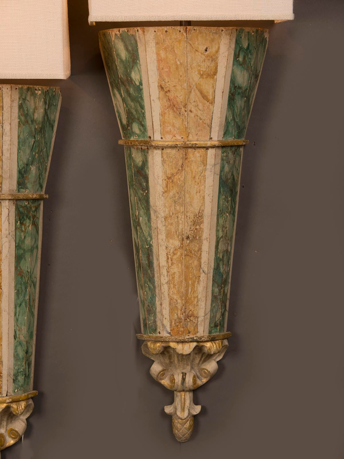 Pair of Grand Italian Sconces Original Painted Finish circa 1820 - Image 9 of 11  sc 1 st  Decaso : italian sconces - www.canuckmediamonitor.org