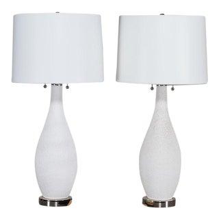Pair Mid Century Modern Vintage Ceramic Lamps Chrome Base circa 1950