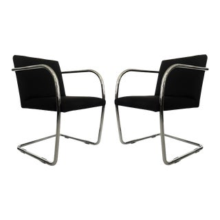 Black and Chrome Brno Chairs by Mies van der Rohe for Thonet - A Pair For Sale