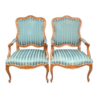 Blue Striped French Fauteuils - a Pair For Sale
